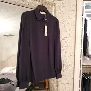 Tory Burch navy blouse -new with tags. Never worn